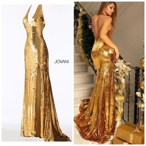 Jovani 62630 gold sequins evening gown